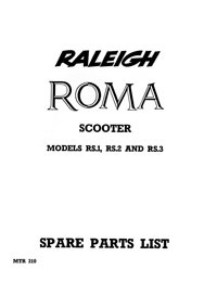 Raleigh Roma scooter RS1 RS2 RS3 parts list
