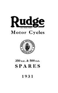 1931-1932 Rudge 350cc & 500cc parts book