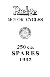1932 Rudge 250cc Models parts book