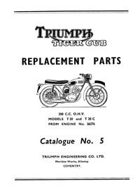 1957-1958 Triumph Tiger cub parts list
