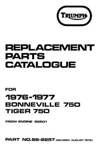 1976-1977 Triumph unit 750cc parts book