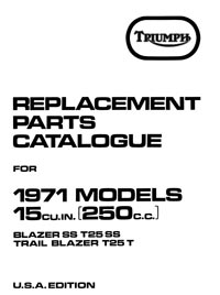 Triumph 1971 Blazer SS T25 & T25T parts list