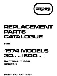 1974 Triumph unit 500cc parts catalogue