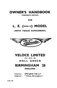 Velocette L.E. Mark III & Vogue owners handbook
