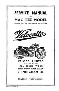Velocette MAC MOV MSS rigid frame service manual