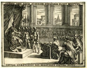 Plate 11, having given the laws, Romulus choses twelve bodyguards and a hundred men who wil become the senators, recorded by a scribe in the centre, from a series of 27 prints relating the story of Romulus and Remus. 1573-75  Etching