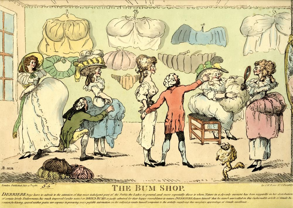 Satire on fashion, with ladies tying pads onto their backsides: for a full account see BMSat. 11 July 1785 Etchingg with hand-colouring