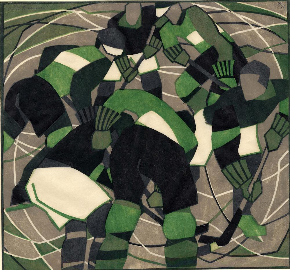 Abstract composition with players converging. 1933Colour linocut, printed in grey, green and black, on oriental laid paper