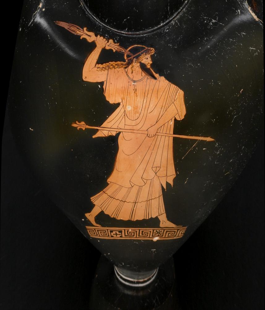Pottery: red-figured neck-amphora: Zeus in pursuit. Reverse: a woman.