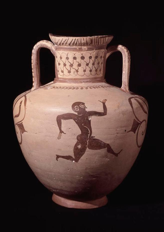 Pottery amphora decorated in the Fikellura style with a running man. Neck, triple cable. Shoulder, chain of simplified pomegranates, joined alternately. The diameter of the mouth is 0.16 m. from back to front, 0.135 m. between the handles: some pinching is common in Fikellura, but this is the extreme instance so far as is known.