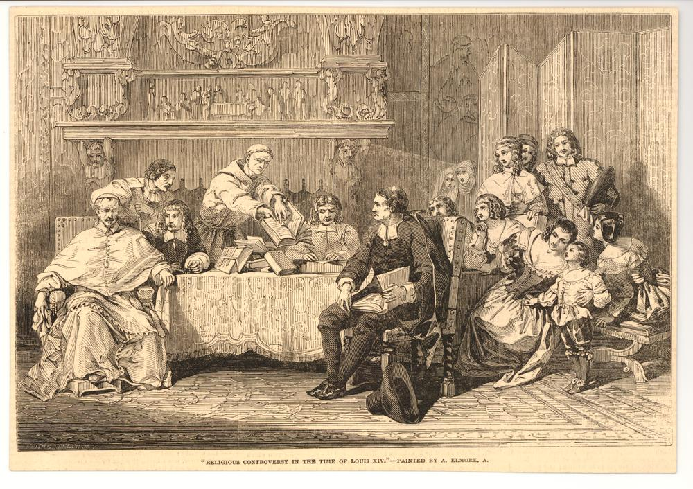 Leading clergymen gathered around a table before an elaborately carved fireplace, a seated man at right turning to look at a monk standing, pointing at open bible in his hand, woman watching at right; after Elmore, cut from the Illustrated London News. 1849-1856 Wood-engraving