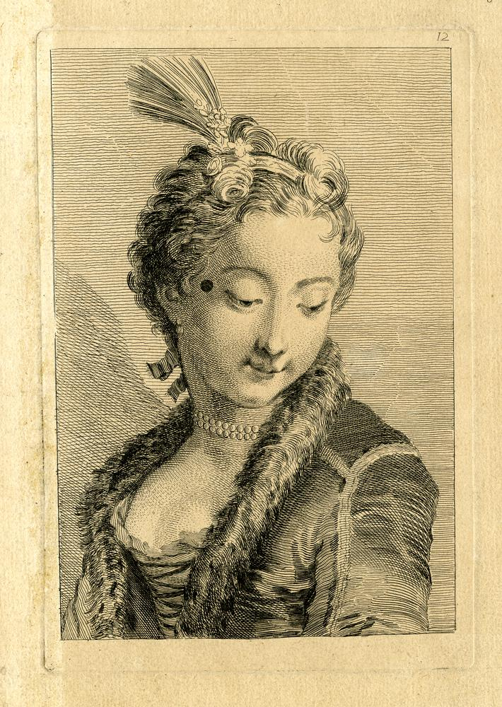 Bust of a young woman, head turned to right, looking downwards; with aigrette, pearl necklace and fur-trimmed jacketEtching and engraving