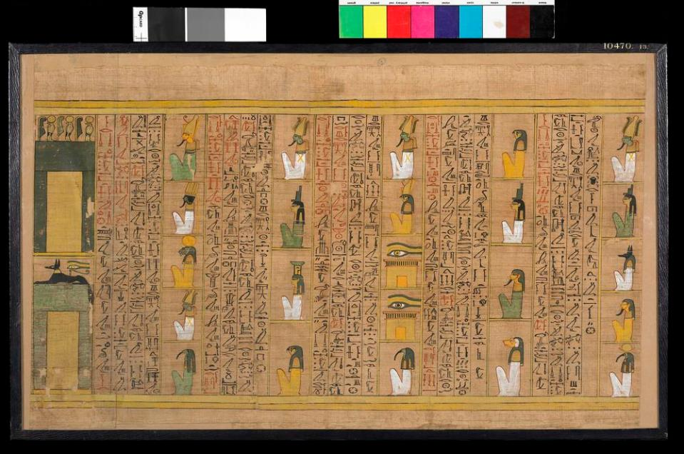 Egyptian papyrus with hieroglyphs and images of gods