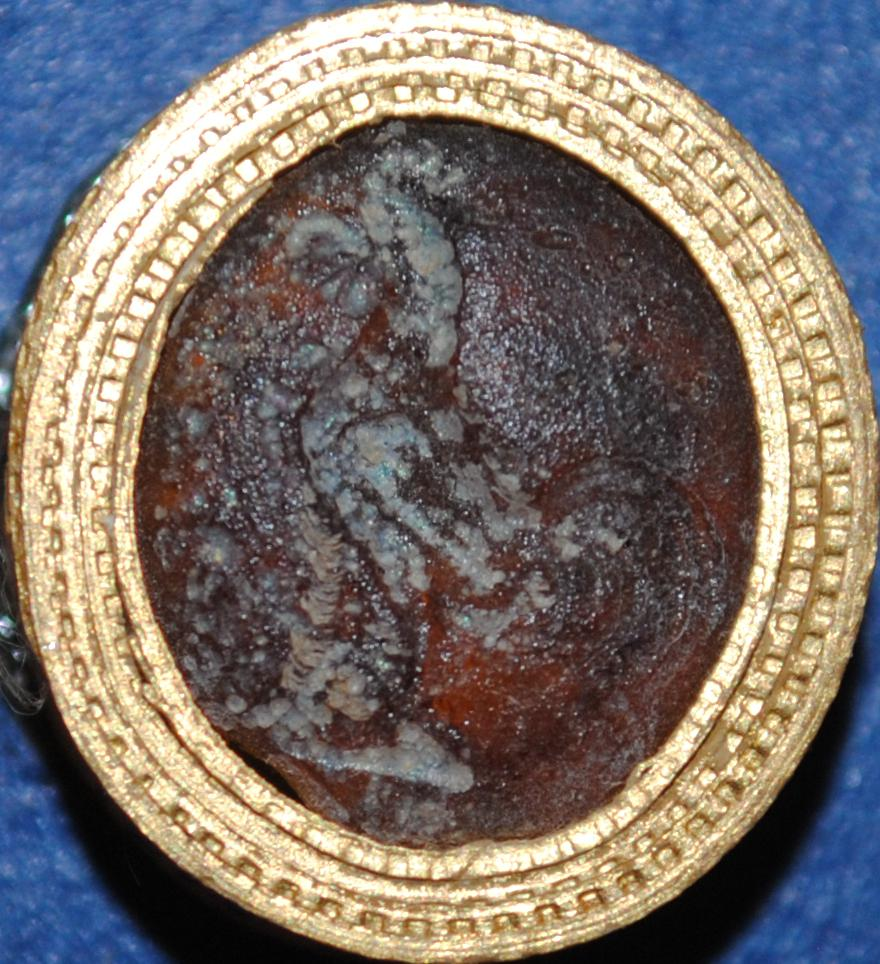 Oval brown glass paste intaglio: cockerel.