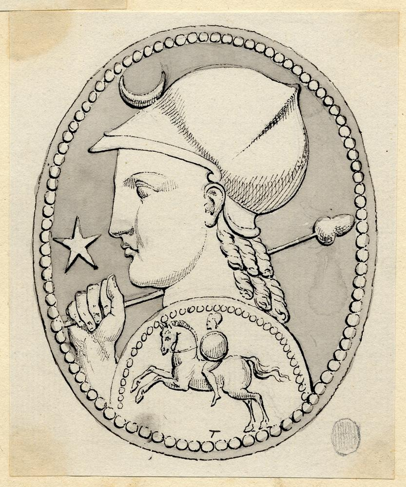 Glass paste intaglio engraved with a bust of Athena wearing a helmet and aegis. In the field is a star and crescent (see BM Cat. Gem 2778).  Pen and ink with grey wash and traces of graphite underdrawing on a sheet of paper, which is stuck down onto a second sheet together with 2010,5006.1260 - 1264; the assemblage framed in a graphite border.