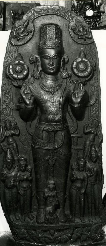 Figure (Surya). Made of stone (basalt).