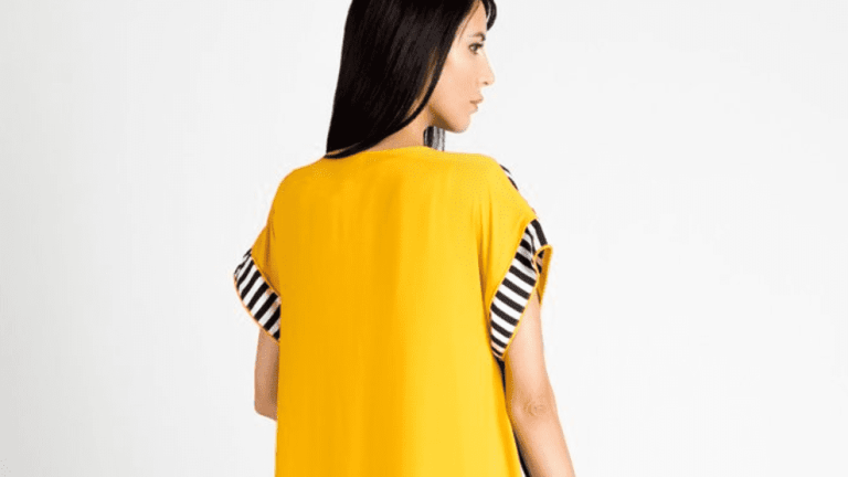 Runway black white and Yellow Kaftan by Haute Elan