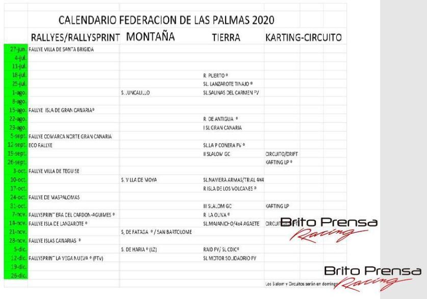 Calendario Automovilístico de Canarias 2020