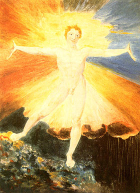 Man standing with arms outstretched surrounded by light