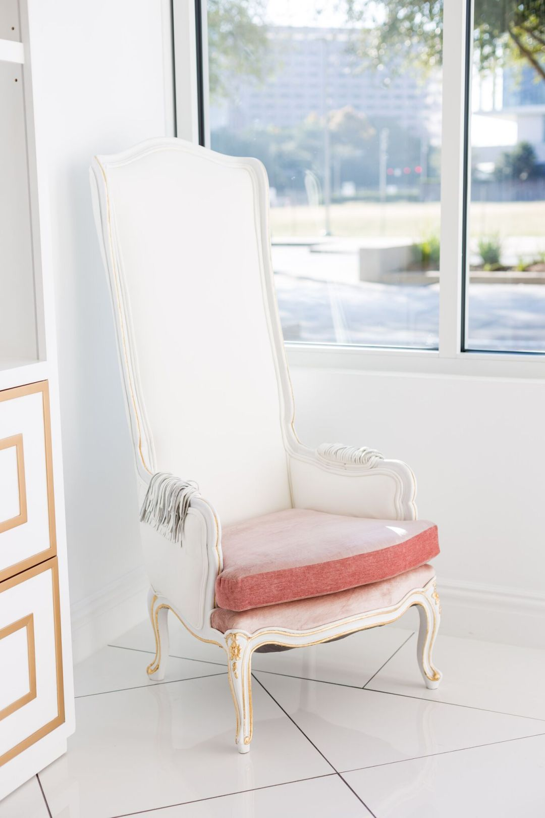 Antique white and pink throne