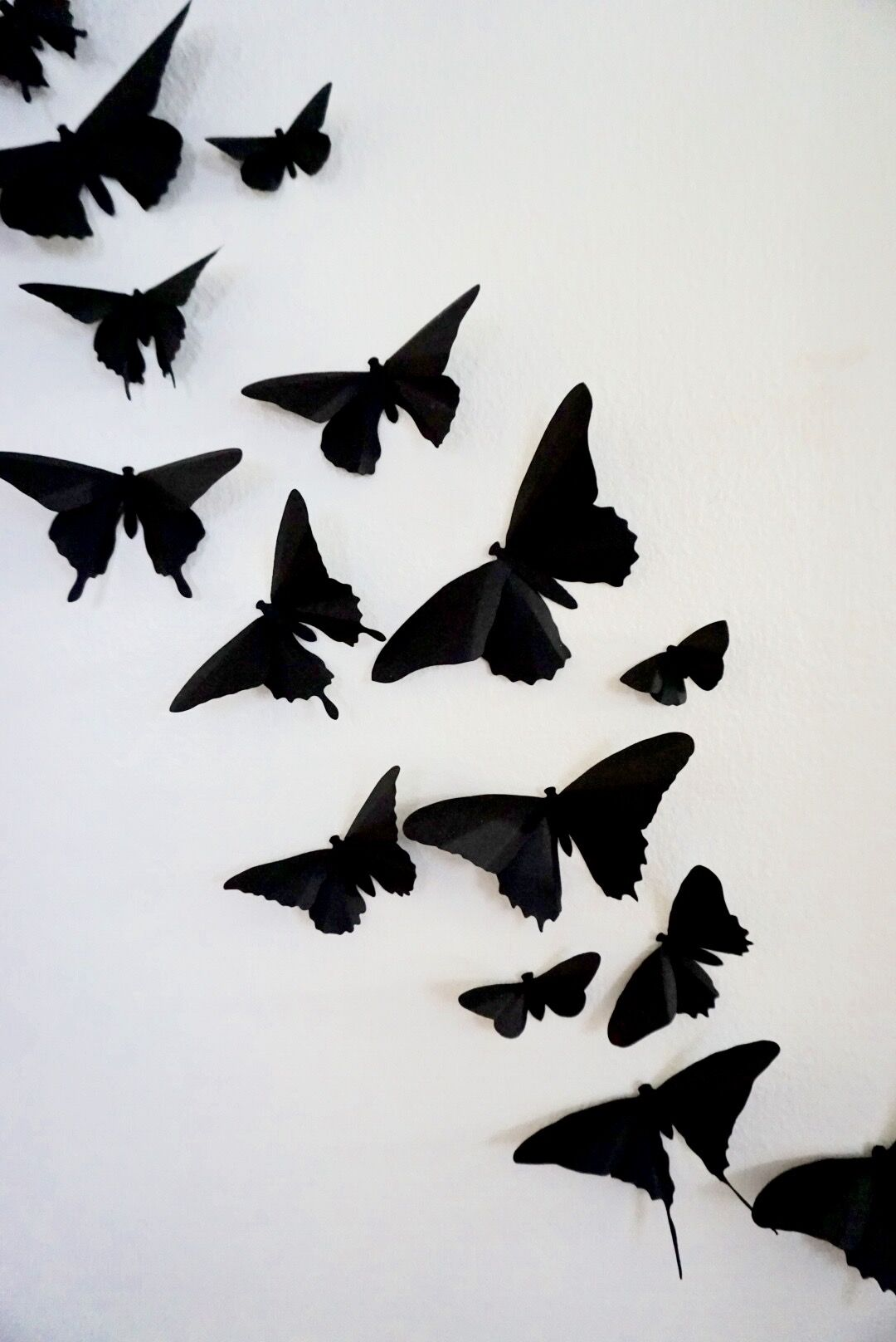 BE black Butterflies on White Wall