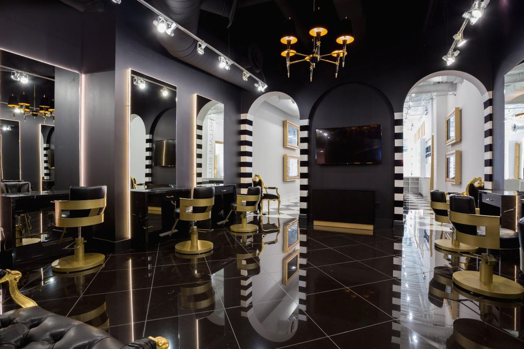 black and gold experiential retail bellami beauty bar