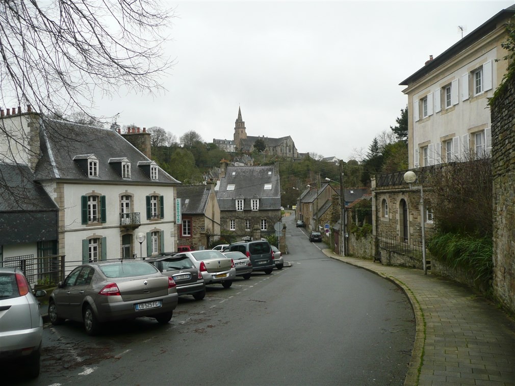 image of Back streets of Lannion, Brittany, showing the church of Brelevenez in the background
