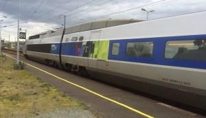 TGV train going through Brittany France