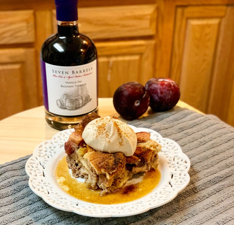 Plum Bread Pudding with Maple Butter Sauce and Spiced Vanilla Fig Whipped Cream