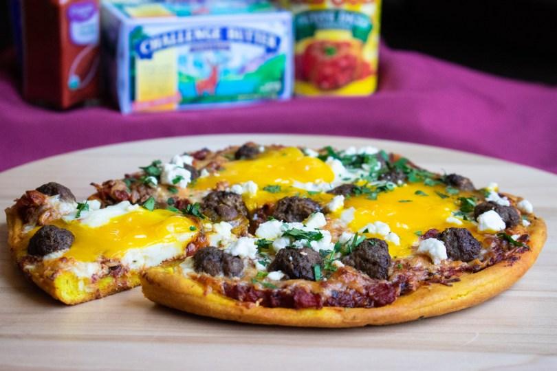 Shakshuka Pizza with Lamb Meatballs and Turmeric Crust