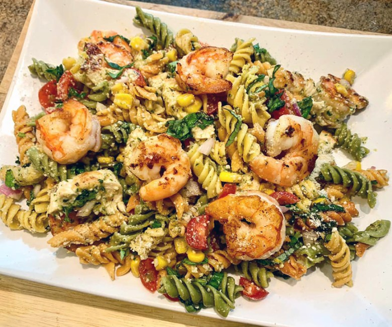 Summer Scampi Pasta Salad with Chicken and Shrimp
