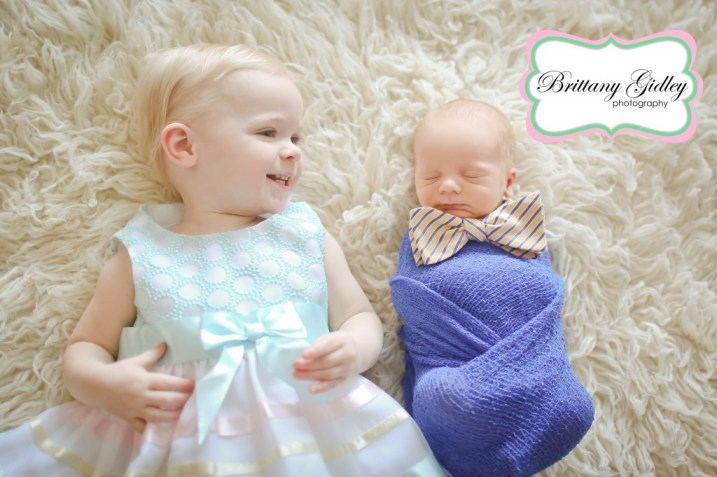 One Year Old and Newborn Pose | Bow Tie | Brittany Gidley Photography LLC
