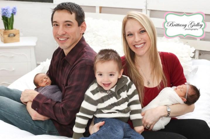 Family With Newborn Boy Girl Twins | Brittany Gidley Photography LLC
