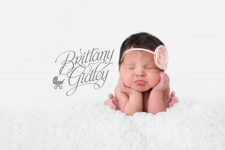 Newborn photoshoot newborn girl baby girl froggy pose head in hands