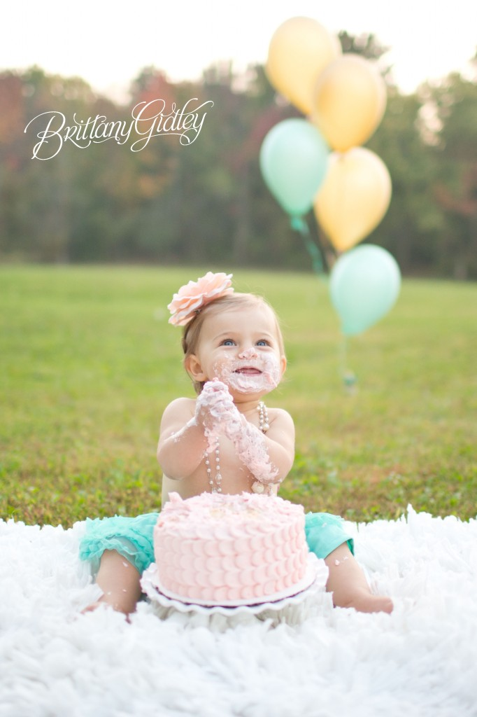 12 Month Baby | Pink | Teal | Blue Eyes | Autumn | Ohio | Cake Smash | Brittany Gidley Photography LLC