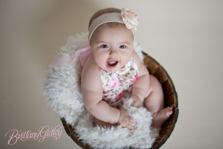 6 Months | Baby | Photo Shoot | Start With The Best | Bucket | Brown | Fur | 6 Month Baby | Sweet | Adorable  | Brittany Gidley Photography LLC