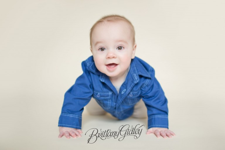 6 Month Boy | Cream | Blue | Start With The Best | Brittany Gidley Photography LLC