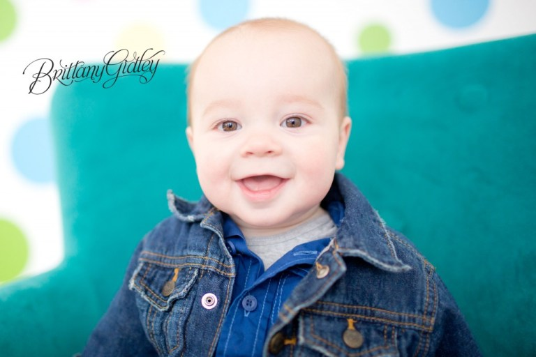 6 Month Boy | Polka Dots | Teal | Start With The Best | Brittany Gidley Photography LLC