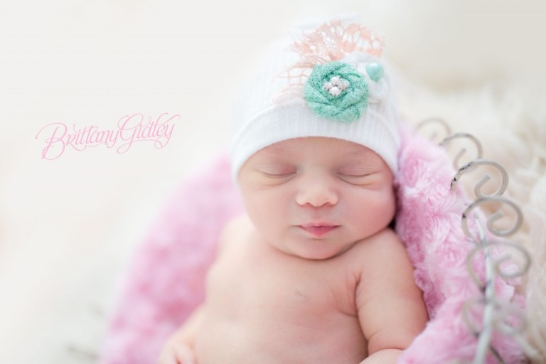Winter Newborn Session | Pink | Teal | White | Posing Inspiration | Baby Girl | Brittany Gidley Photography LLC