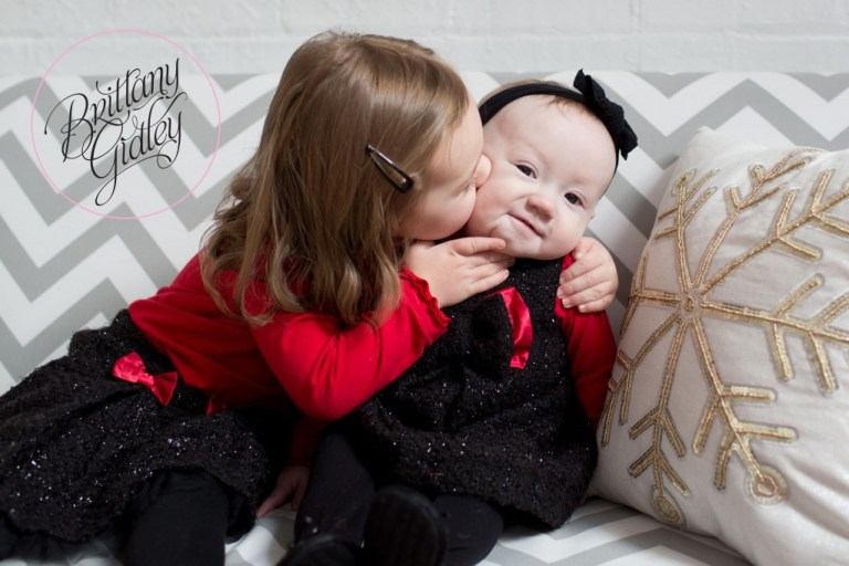 Sisters | Holiday Studio | Baby | Toddler | Big Sister | Little Sister | Smooch | Kisses | Brittany Gidley Photography LLC