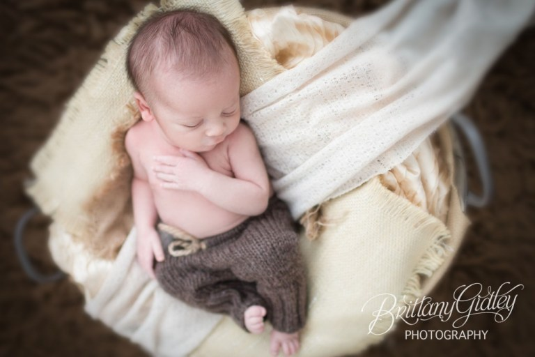Baby In Basket | Newborn In Basket | Cleveland Newborn | Cleveland Newborn Photography | Baby Photographer | Baby Photography | Cleveland Ohio | Brittany Gidley Photography LLC