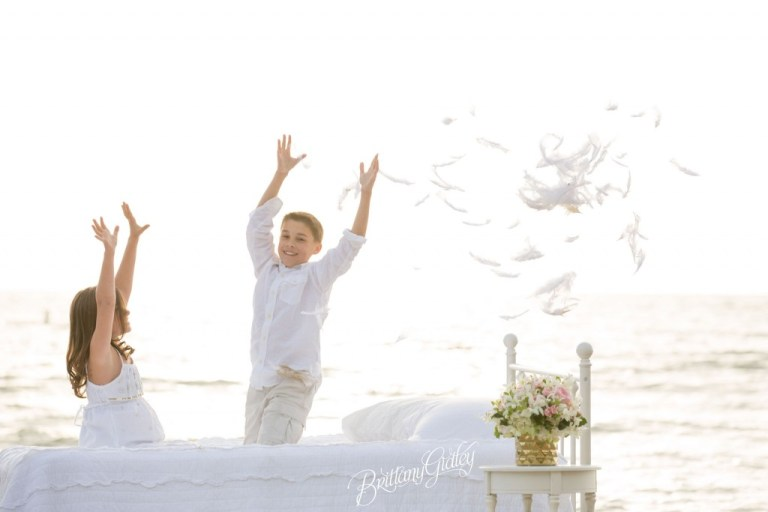 Cleveland Child Photographer | Dream Sessions | Brittany Gidley Photography LLC | Feathers | Bed on Beach | Fresh Floral | Whimsical Fun Bright | Photo Shoot Inspiration