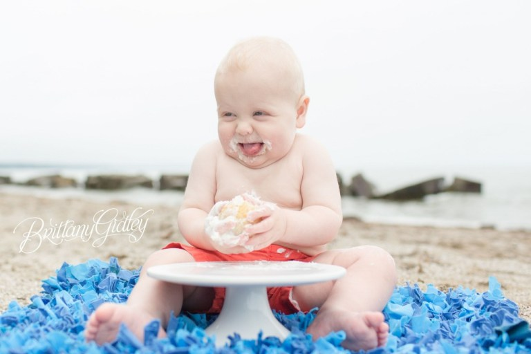Cleveland Baby Photographer | 12 Months | First Birthday | Beach Photo Shoot | Cake Smash