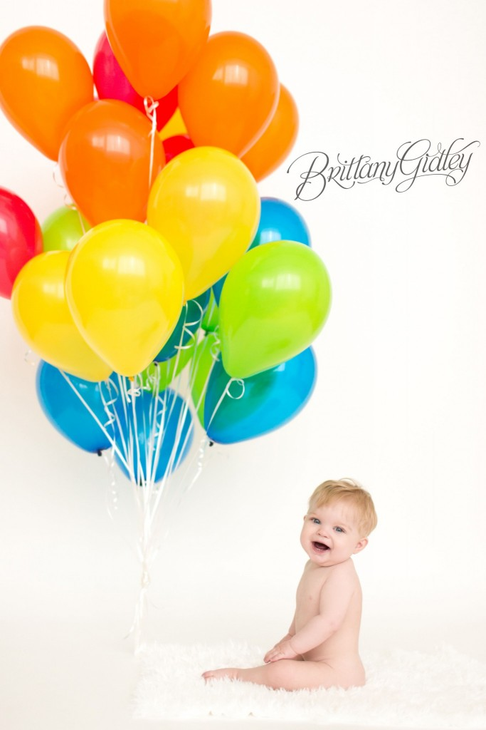 First Birthday Celebration | Balloons | Colorful | Rainbow | Brittany Gidley Photography LLC