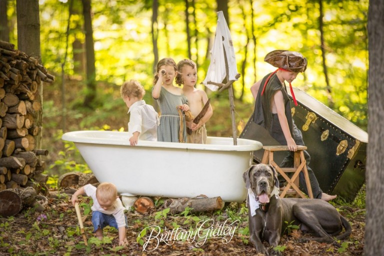 Cousins Photo Shoot | Styled | Start With The Best | Claw Foot Bath Tub | Antiques | Photographer Inspiration | Cleveland Ohio | Dream Session | Cousins | Playing | Summer | Great Dane | Toddler Photographer