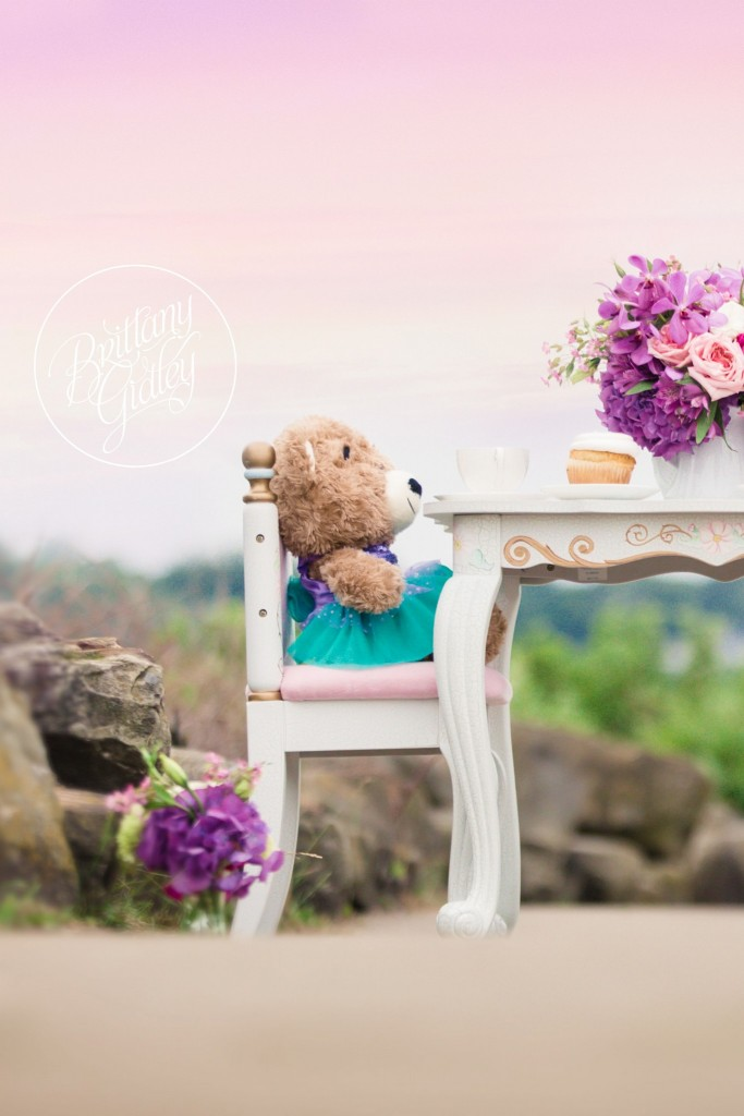 Heatherlily for Brittany Gidley Photography | Fresh Floral | Floral Props | Peony Roses Hydrangeas | Teddy Bear | Build A Bear | Teal Purple