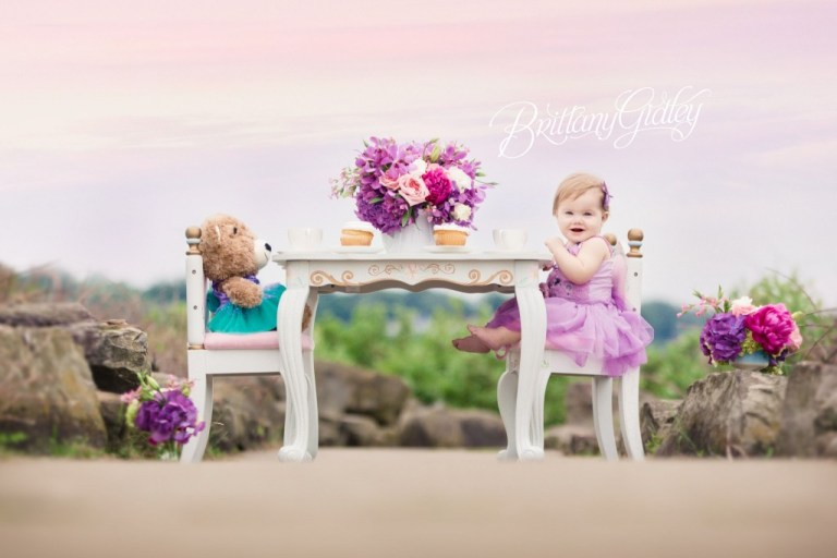 Tea Party Photo Shoot | Cake Smash | Tea Party | Heatherlily for Brittany Gidley Photography | Fresh Floral | Floral Props | Peony Roses Hydrangeas | Teddy Bear | Build A Bear | Teal Purple