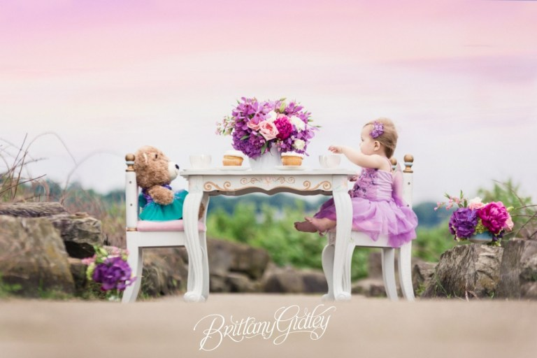 Tea Party Photo Shoot | Cake Smash | Tea Party | Heatherlily for Brittany Gidley Photography | Fresh Floral | Floral Props | Peony Roses Hydrangeas | Teddy Bear | Tutu Du Monde | Rainey's Closet | Teal Purple