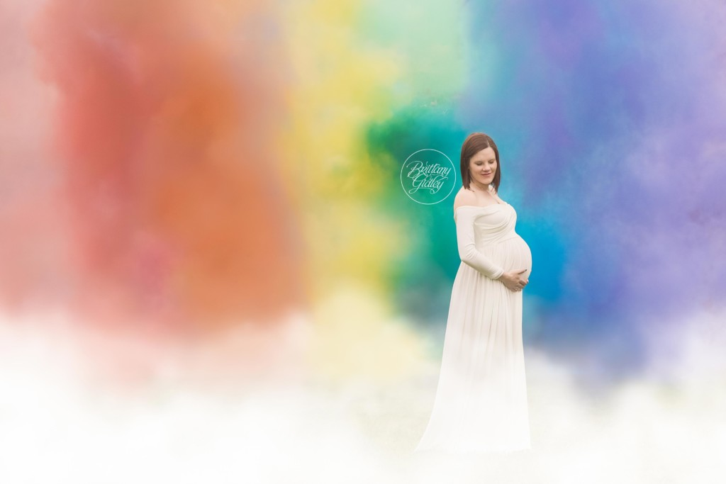 Smoke Bomb Rainbow Baby Maternity | Waiting on Baby K