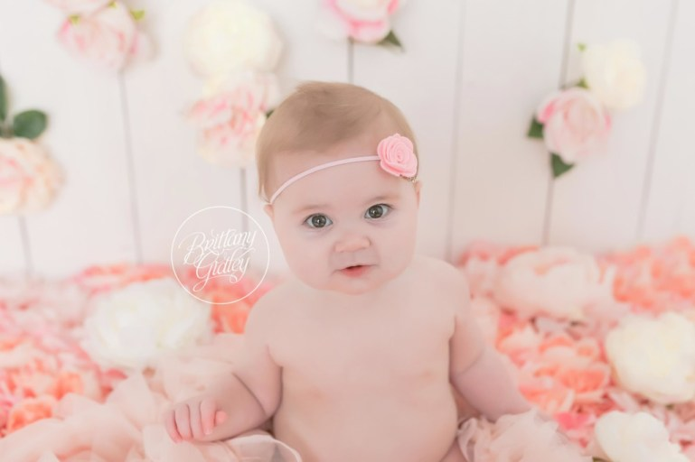 6 Month Baby Photos | Baby Photographer | Cleveland Ohio | Start With The Best | Flower Wall | Floral Baby Images
